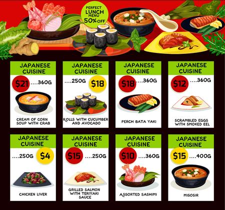 Vector price menu for Japanese cuisine restaurant