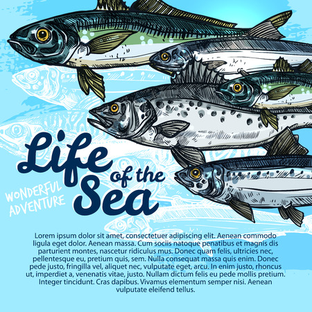 ベクトル魚海洋生物や海洋水族館のポスター。