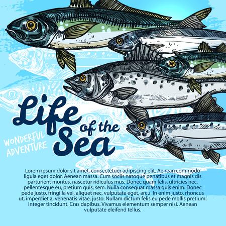 물고기 바다 생명 또는 해양 수족관의 벡터 포스터.