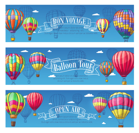 Vector banners for hot air balloon travel voyage.