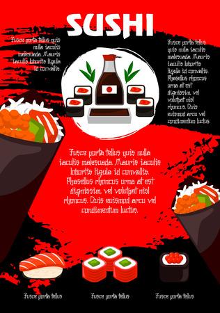 Poster voor Japans restaurant of sushi menu