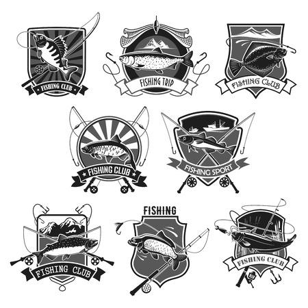 Pictogrammen instellen voor vissen of fisher sportclub Stock Illustratie
