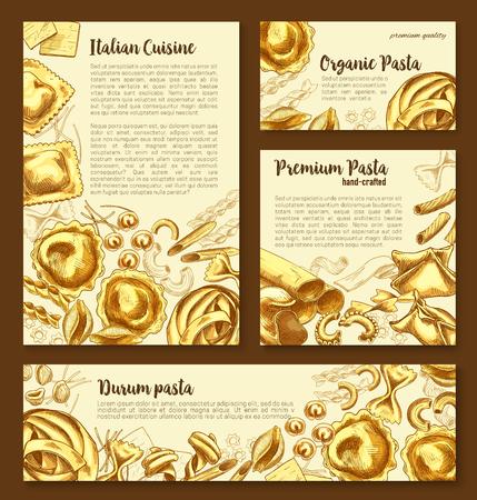 벡터 포스터 템플릿 이탈리아어 파스타의 집합입니다.