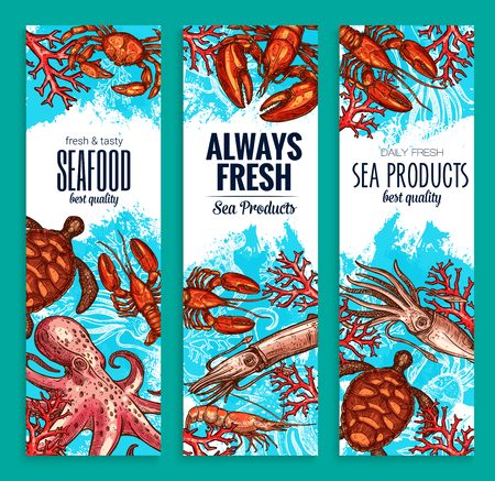 Seafood restaurant seafood banners
