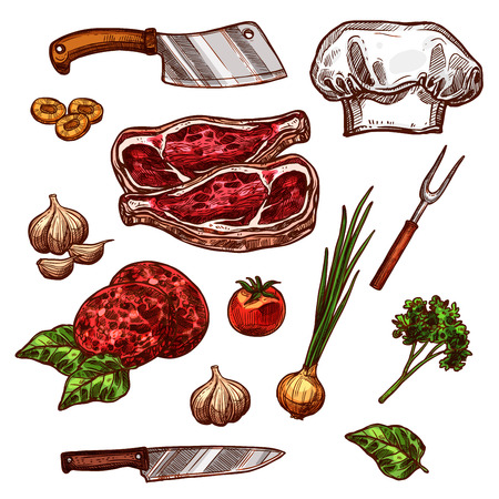 Vector icons of butchery meat and seasonings. Illustration