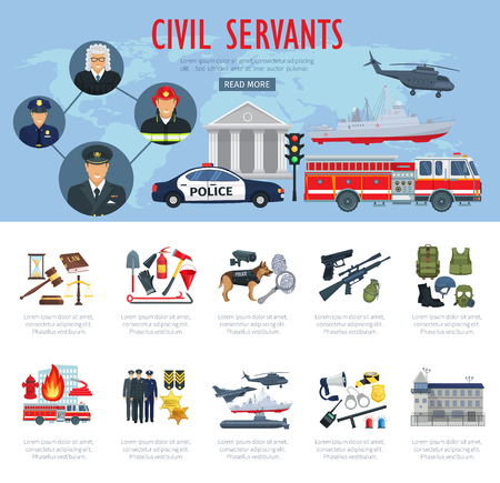 Poster of civil servants, judge, police and aviation