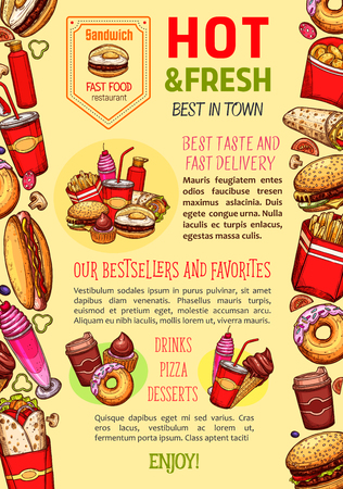 Fast food restaurant poster template