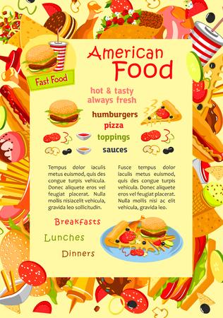 hot dog: Fast food vector poster for restaurant menu