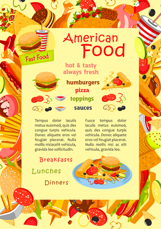 Fast food vector poster for restaurant menu