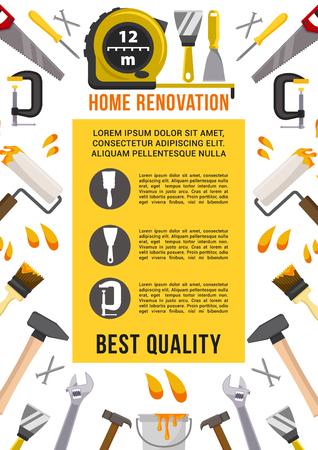 홈 수리 및 복구 작업 도구 포스터. 벡터 목공 측정 눈금자, 스 패너 또는 렌치 및 스크루 드라이버, 드릴 또는 망치와 톱, 석고 흙 및 페인트 브러시, 망