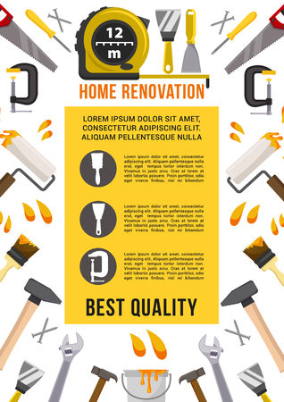 Home renovation and repair work tools poster. Vector carpentry measure ruler, spanner or wrench and screwdriver, drill or hammer and saw, plaster trowel and paint brush, toolbox of mallet and pliers 版權商用圖片 - 84922317