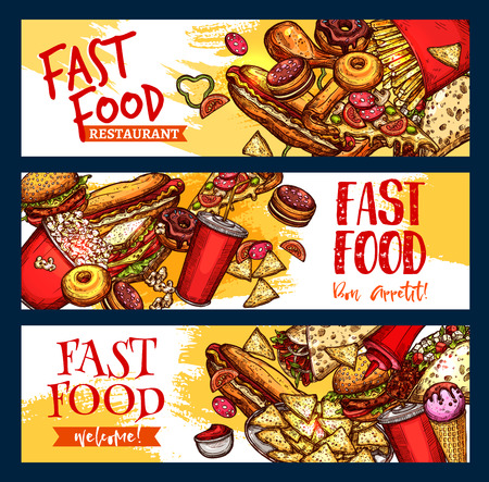 hot dog: Fast food burgers, pizza and desserts banners for fastfood restaurant menu. Vector set of hot dog sandwich, hamburger or french fries and cheeseburger combo with coffee or soda drink and donuts Illustration