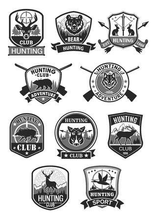 Hunting club hunt adventure vector icons