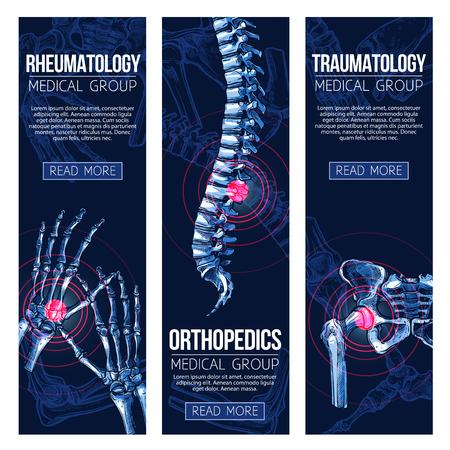 Medical banners for rheumatology and traumatology Stock Illustratie