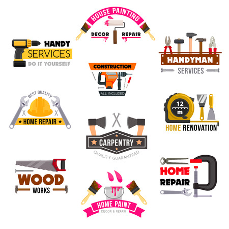 Vector icons set carpentry construction work tools. Vettoriali
