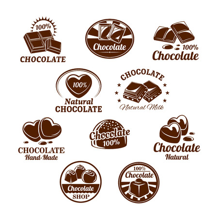 Icons set for chocolate desserts