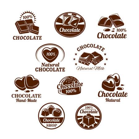 Ikony ustawione na desery czekoladowe