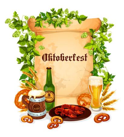 Oktoberfest poster of beer snacks Illustration