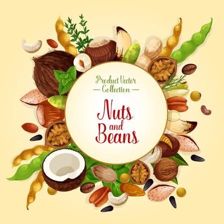 Affiche van noten, graan en zaden Stock Illustratie