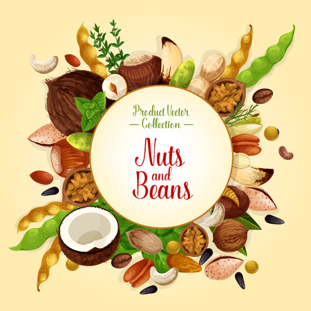 Poster of nuts, grain and seeds Illustration