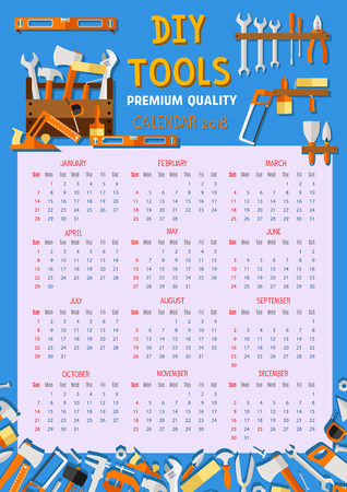 Vector calendar 2018 house renovation work tools.