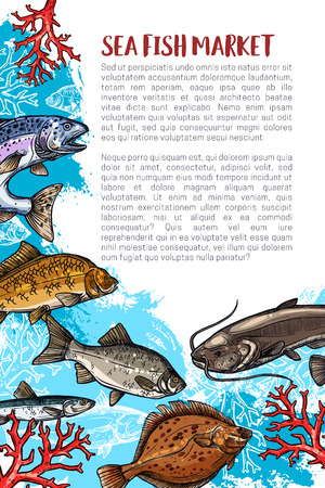 Poster of fish catch for sea food maket
