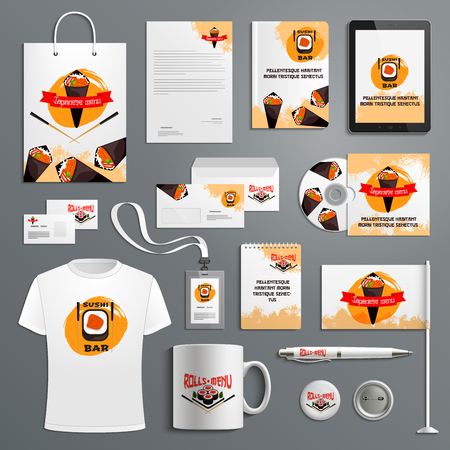 Corporate identity vector items for sushi bar