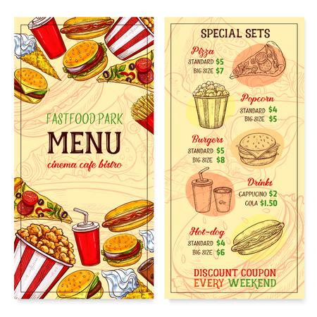 Fast food restaurant fastfood meals menu vector