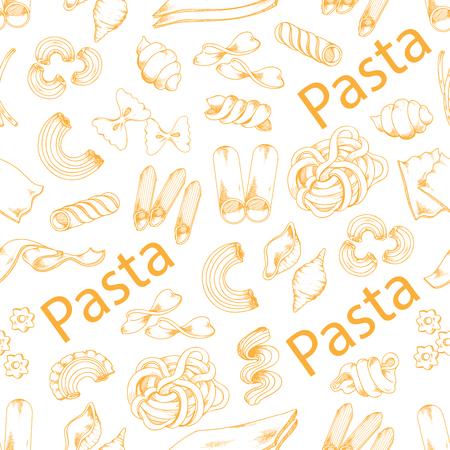 パスタとイタリアのマカロニのベクトルのシームレス パターン  イラスト・ベクター素材