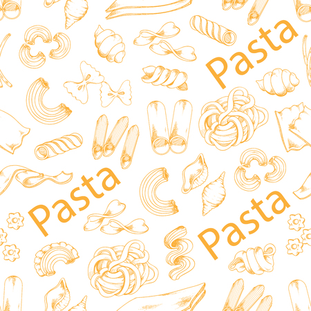 Pasta and Italian macaroni vector seamless pattern Banco de Imagens - 84948464