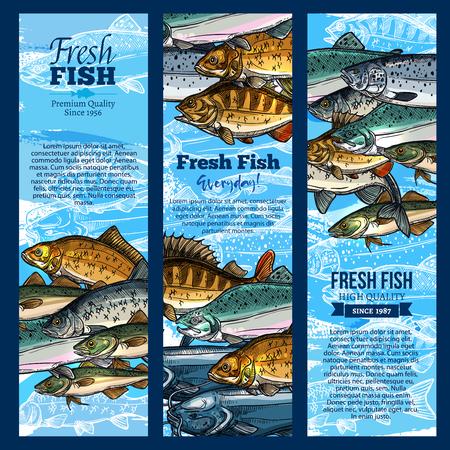 魚のベクター バナーを海食品 maket のキャッチします。  イラスト・ベクター素材