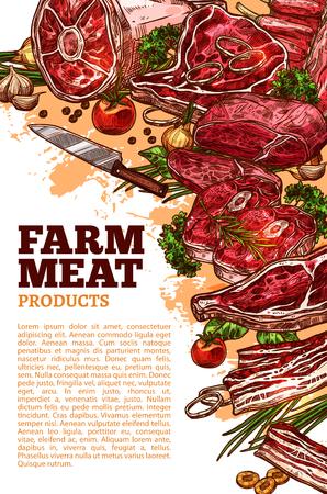 Boerderij vers vlees poster sjabloon voor slagerij winkel of boerenmarkt. Vectorvleesproducten van runderlende of haasbiefstukfilet, schaapribben of steak en varkensgehakt hamborstproducten