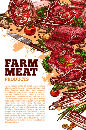 Farm fresh meat poster template for butchery shop or farmer market. Vector meat products of beef loin or tenderloin filet, mutton ribs or steak and pork meaty ham brisket products Imagens - 84922412