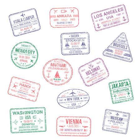 Passport city names stamps set. Kuala Lumpur, Ankara or America Los Angeles and Helsinki, Brussels, Abu Dhabi or Jakarta, Warsaw, Vienna and New York USA travel country arrival vector isolated icons
