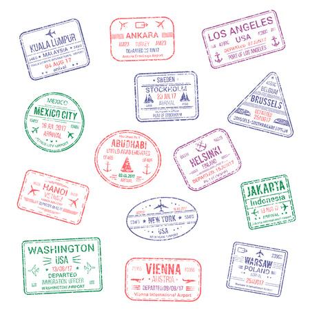 Zestaw znaczków miasta paszportów. Kuala Lumpur, Ankara lub Ameryka Los Angeles i Helsinki, Bruksela, Abu Dhabi lub Dżakarta, Warszawa, Wiedeń i Nowy Jork USA podróży kraju przyjazdu wektor izolowane ikony