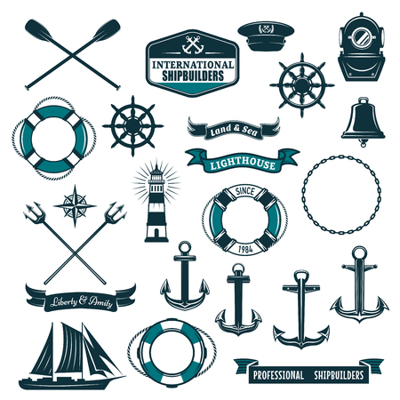 voyager: Marine navy and nautical heraldic icons set. Vector crossed paddles, ship anchor or helm and life buoy, trident and aqualung mask, boat bell or lighthouse and wind rose compass with frigate and ribbon