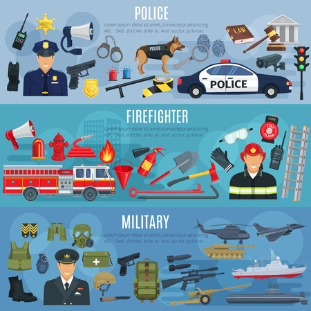 Firefighter, military and police banners. Vector fire extinguisher, water hydrant and truck, military ammunition or aviation transport, policeman traffic lights car, handcuffs or detective fingerprint Ilustração