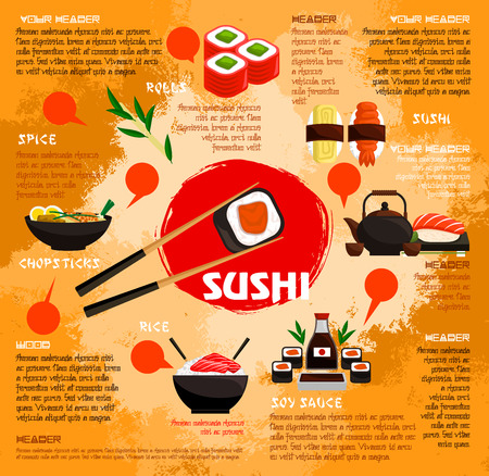 Sushi bar poster or menu template for Japanese seafood restaurant. Vector sushi rolls with tempura shrimp or prawn, salmon caviar sashimi and green tea, steamed rice and nori seaweed or tuna noodles