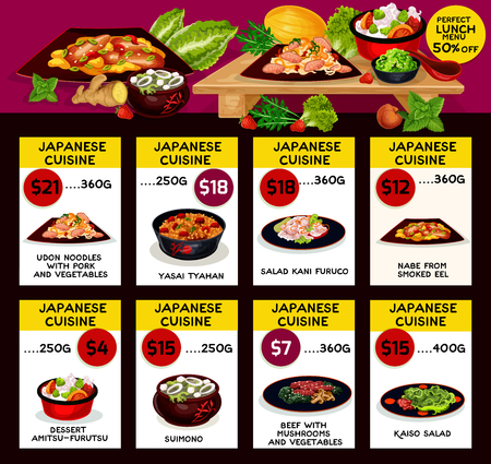 Japanese cuisine restaurant menu template. Vector lunch offer pork and vegetable udon noodles, yasai tyahan, salad kani furuco and kaiso, smoked eel nabe, amitsu-furutsu dessert, suimono beef mushroom Ilustrace