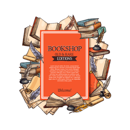 Bookshop poster for old and rare books shop or market. Vector design of vintage rarity book in leather cover, manuscript ancient paper scroll and quill feather ink fountain pen in inkwell or inkstand Stok Fotoğraf - 84922469