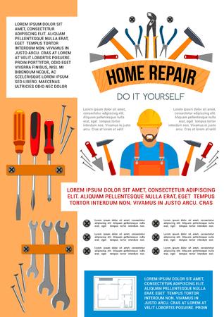 Herramientas caseras del trabajo de la reparación y hágalo usted mismo cartel de la caja de herramientas para la construcción o la renovación de la casa. Vector handyman o carpintero amoladora avión, martillo de construcción, taladro o regla y destornillador y llave
