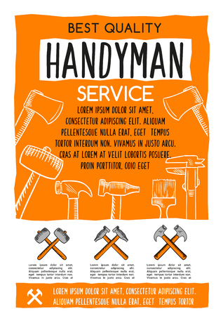 주택 수리 또는 주택 개조를위한 재주문 서비스 포스터. 목공, 석고 및 목공 작업 도구의 벡터 디자인 망치, 눈금자 또는 흙과 스크루 드라이버, 페인트 일러스트