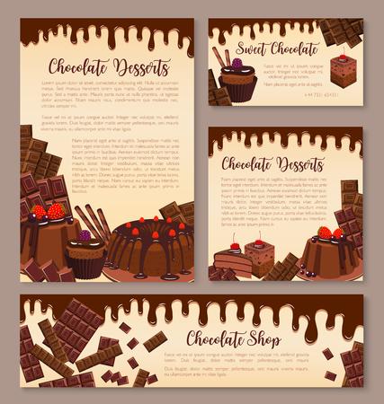 Postres de chocolate carteles o plantillas de pancartas para panadería o confitería. Conjunto de vectores de pasteles de chocolate, pasteles de chocolate o muffins y cupcakes, tiramisú o tortas de brownie dulces de chocolate y cacao Ilustración de vector