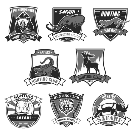 Hunting club icons for hunter african forest or open season. Vector isolated badges set wild animals grizzly bear, elephant and cheetah panther or leopard, alligator crocodile, deer elk and rhinoceros