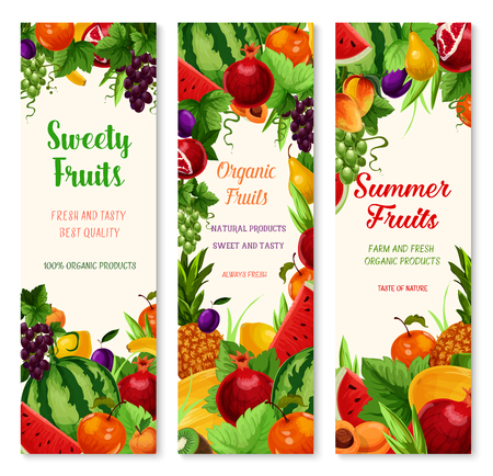 Fresh fruits banners for summer farm fruit market. Vector set of exotic pineapple, garden apple or watermelon and melon, or papaya and avocado, apricot or pear and plum fruit harvest