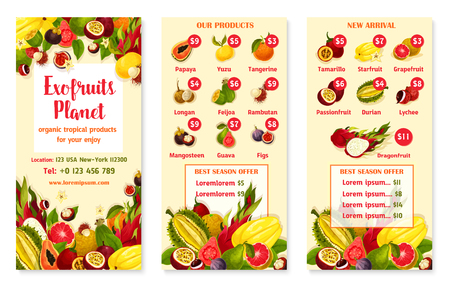 Exotic tropical fruits price menu template for fruit store or market. Vector design of durian, mango or orange pomelo and feijoa, papaya or mangosteen and rambutan or dragon fruit and carambola