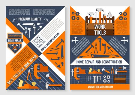 홈 수리 및 작업 도구의 건설 포스터입니다. 벡터 목공 망치, 망치 또는 스크루 드라이버, plasterer 흙 주걱과 집안일 건물 및 개조를위한 목공 분쇄기 비 일러스트