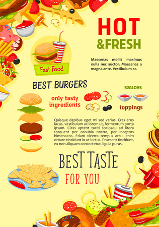 Fast food poster of hot dog, cheeseburger or pizza and french fries snack, donut or muffin and ice cream desserts, sandwiches or chicken grill nuggets and coffee or soda drinks for fastfood restaurant