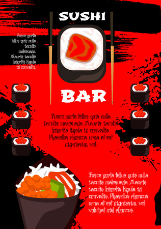 Sushi bar poster vector template design of salmon or philadelphia sushi rolls, seafood noodles or miso soup and eel unagi on steamed rice, tempura shrimp and chopsticks for Japanese restaurant menu