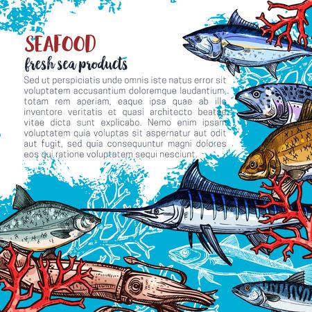 魚と海の食品市場のため、魚介類や魚の食品製品ポスター テンプレート新鮮なマーリン、タコやヒラメ、サーモンやマグロ、エビ エビのデザインの  イラスト・ベクター素材
